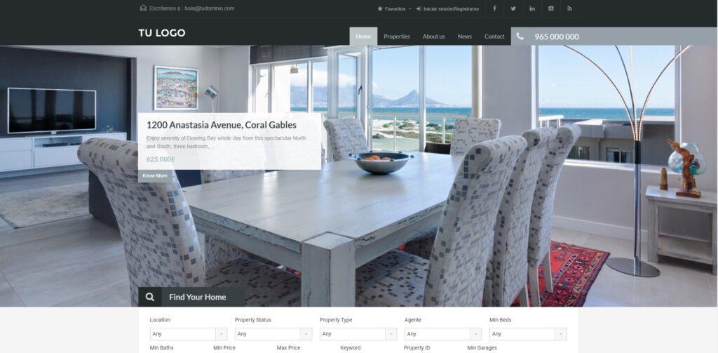 Modelo web wordpress Casa Amarilla