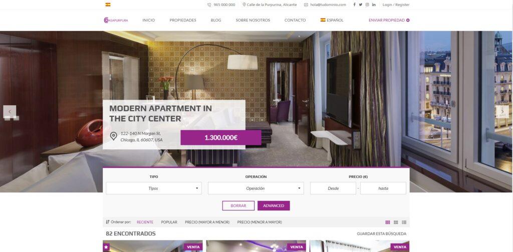 Modelo web wordpress Casa Púrpura